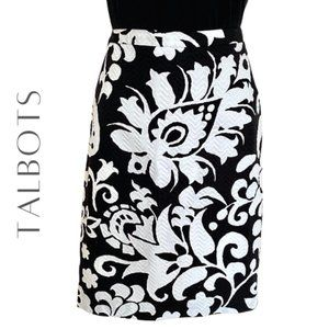 TALBOTS Petites Black & White Pencil Skirt, 4P